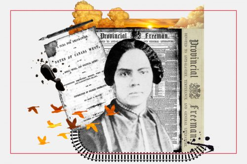 A black and white portrait of Mary Ann Shadd Cary, against a collage of newspaper clippings, silhouette of flying birds and a railroad track illustration.