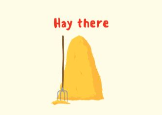 Hay there 2 ecard front cover pic of hay
