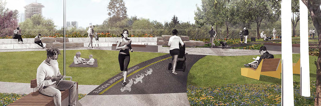 A computer rendering of people enjoying the park. Some people are running and some are sitting or walking. They are wearing masks over their lower faces.