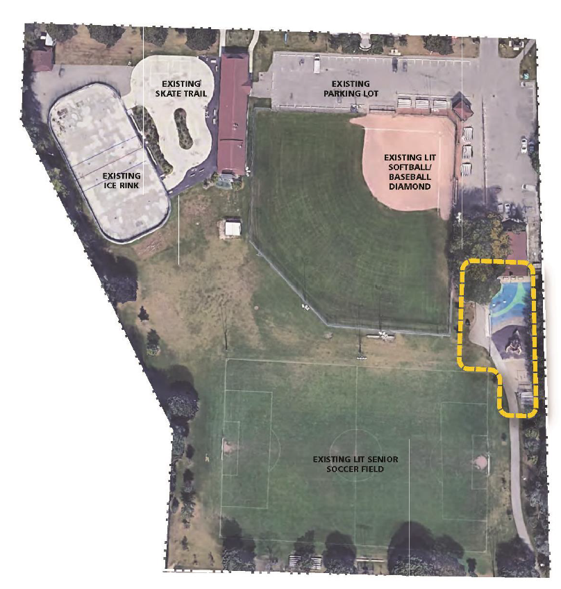 A satellite aerial view of Dieppe Park, with a yellow line outlining the family play zone.