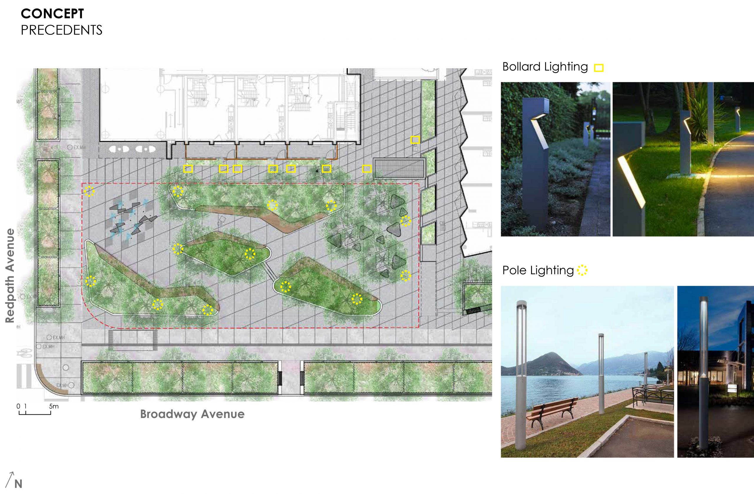 An image that provides some examples of the lighting options proposed for the new park. This includes pole lighting options and bollard lighting options that would be integrated throughout the park.