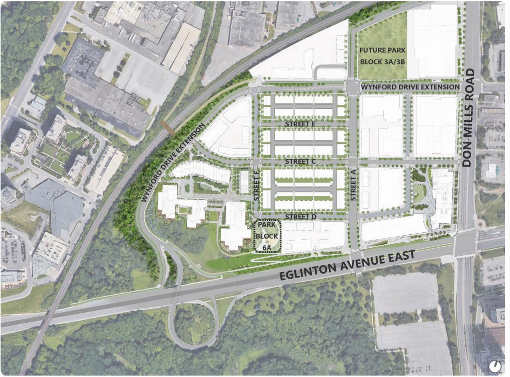 This image shows an aerial overview of the new Crosstown Community Development, at the corner of Don Mills Road and Eglinton Avenue East. An outline indicates where Park Block 6A is located, and where the new Crosstown Park South will be built.