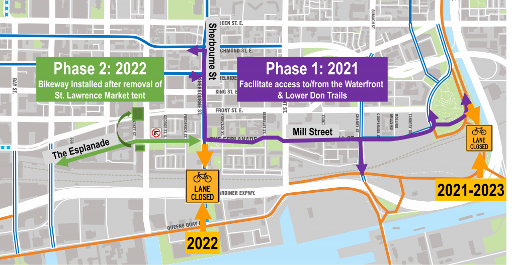 Implementation timeline for the Improving The Esplanade and Mill Street project.