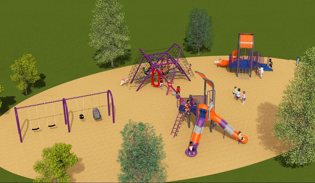 A rendering of the playground for option 2, which includes one junior play structure with a double slide, one senior play structure with a straight slide, a rope-based climbing structure, a spin toy, a spring toy and a swing set. The playground sits on top of wood-chip safety surfacing and all equipment is pictured in orange and purple, with blue and dark grey accents.