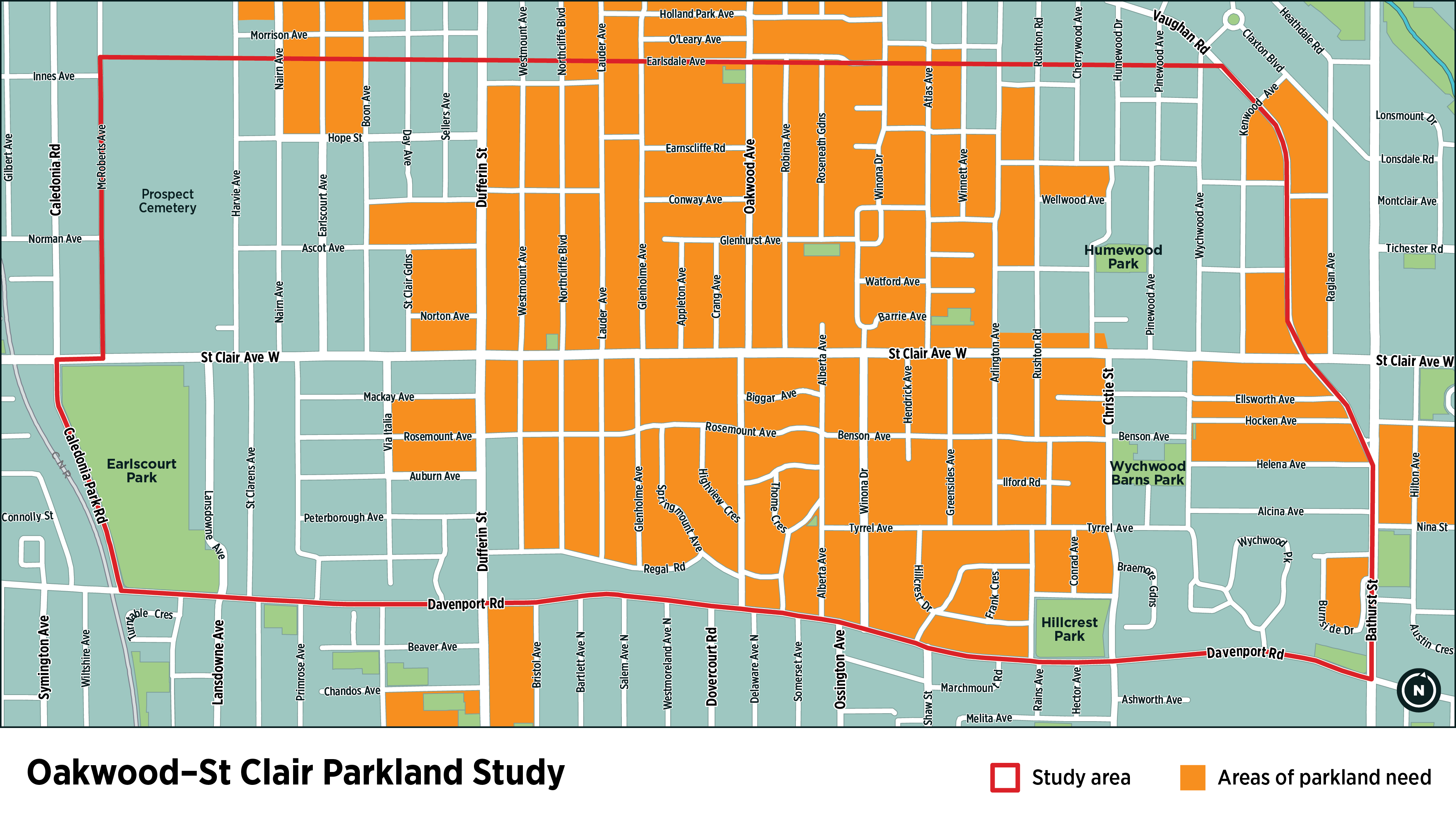 Map of Oakwood and St Clair area. Red outline describes the study area bordered by Davenport Rd. on the South, Bathurst St. on the East, Earlsdale Ave. on the North and Mc Roberts Ave/Caledonia Park Rd. on the West. The map also highlights blocks representing areas of parkland need which covers approximately 30% – 40% of the map shown.