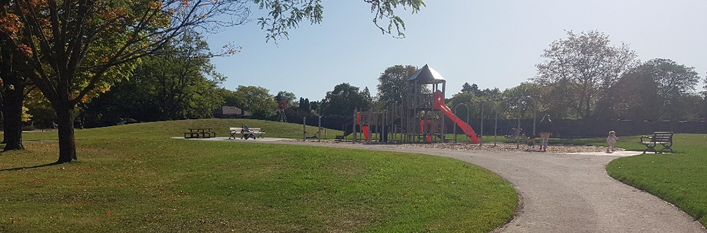 The playground at Mallow Park on a sunny day.