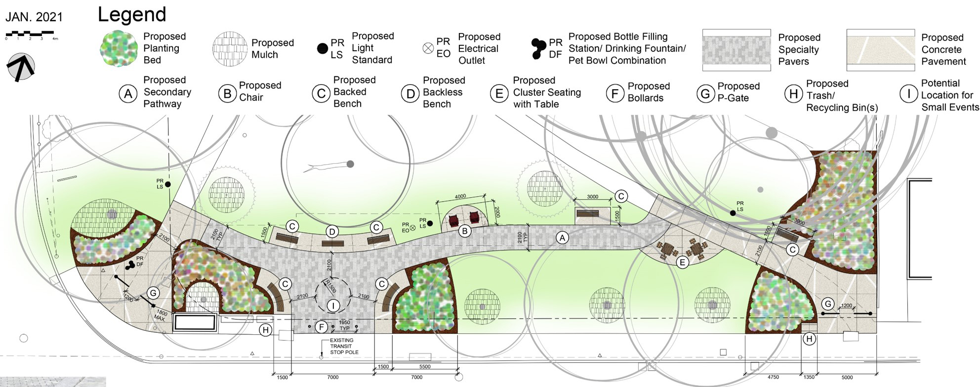 Plan of Preferred Concept Design. Specialty paver secondary pathway in an east-west curvilinear alignment and the proposed small plaza/ seating area connected to the existing sidewalk. Proposed locations for new planting: to frame the west and east park entrances; and the small plaza/ seating area. Hardy, native and pollinator friendly plant species will be considered. New drinking fountain at the west park entrance, new light standards along the secondary path, and new electrical outlet by the small plaza/ seating area.