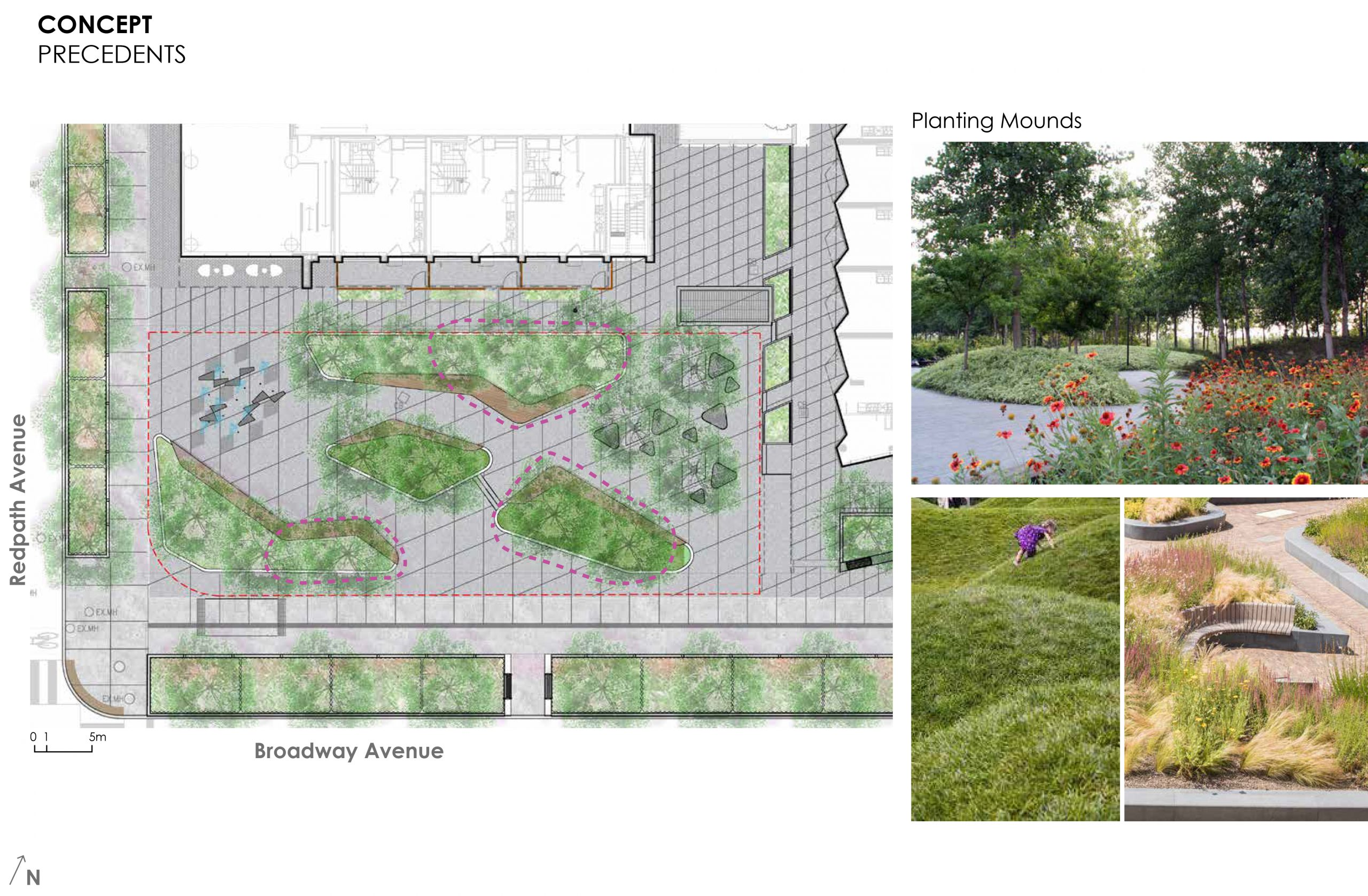An image that provides some examples of the planting mounds and plant features proposed for the new park. The options are of green grass mounds, tall grass and flower plantings near the seatwalls in the park.