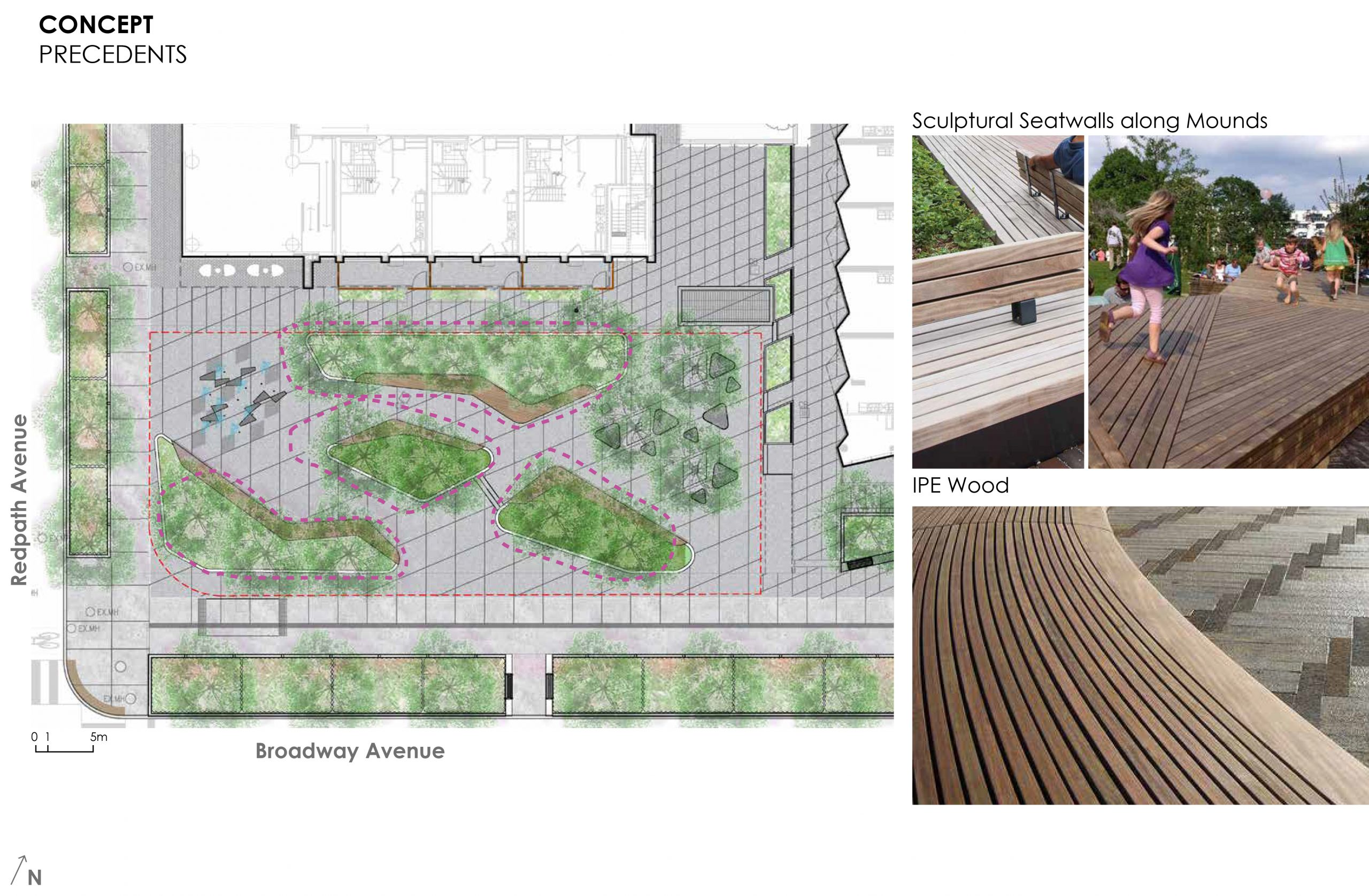An image that provides some examples of the sculptural wood benches and seatwalls proposed for the new park. These benches and seatwalls are intended to be integrated into the design throughout the park.