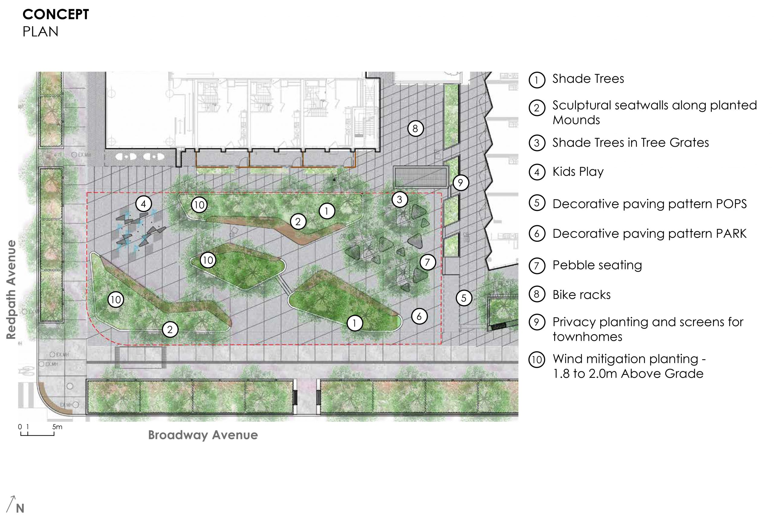 An image of the proposed concept plan for the new park at 100 Broadway Avenue which gives a closer look at the park features and their location within the park. The new features include trees for added shade, sculptural seatwalls along planted mounds, tree grates, children's water play features, decorative paving, pebble seating, bike racks, and privacy planting and screens for townhomes.