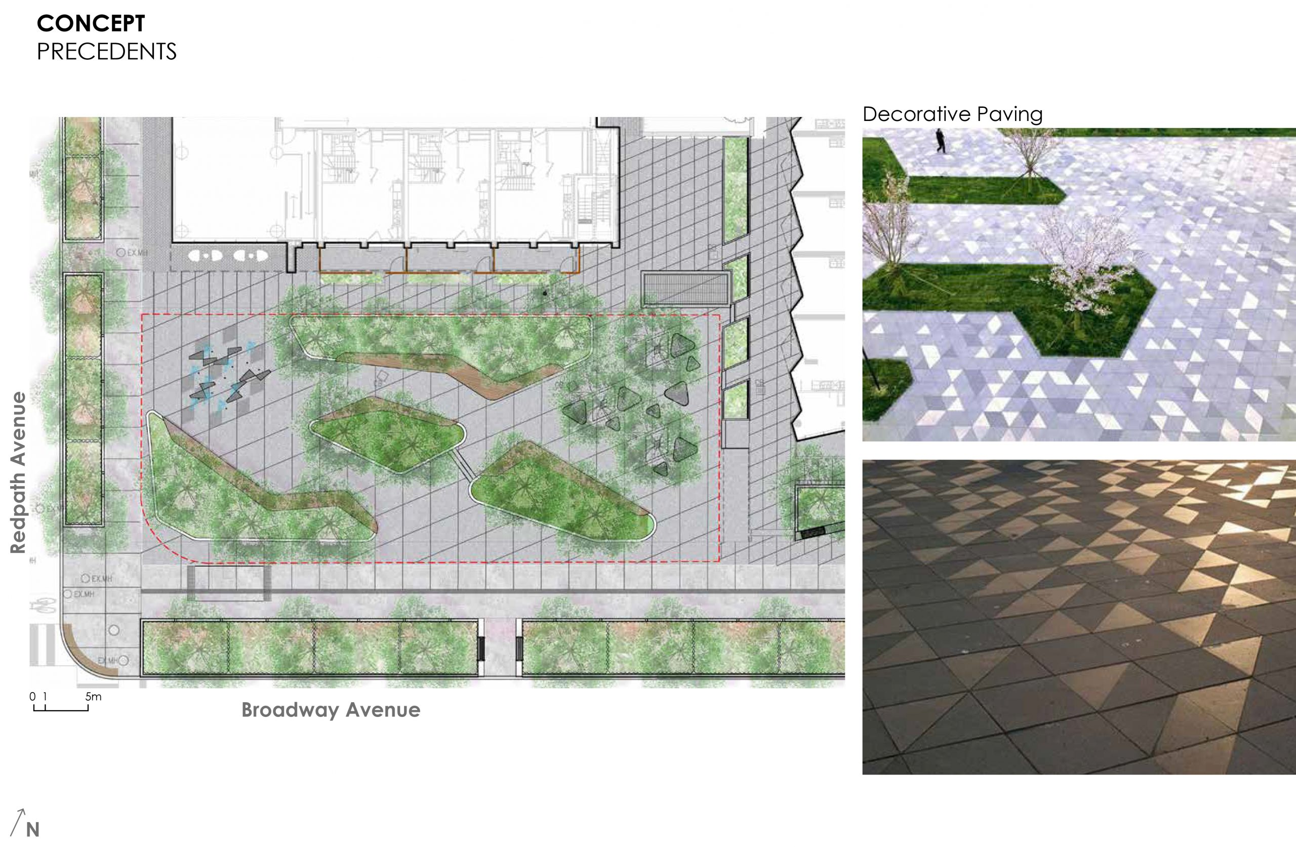 An image that provides some examples of the decorative paving proposed throughout the new park. The images of the paving show square and triangle tile designs.