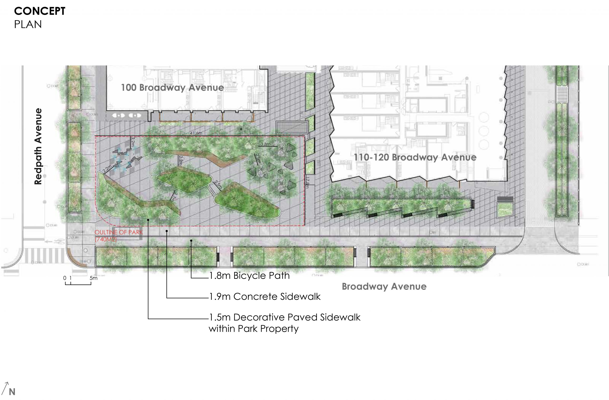 An image of the proposed concept plan for the new park at 100 Broadway Avenue which shows the new surrounding townhouses and apartment buildings in white. A red line shows the outline of the park within the new development site. The long side of this rectangular park will run parallel to a concrete sidewalk and bicycle path along Broadway Avenue.