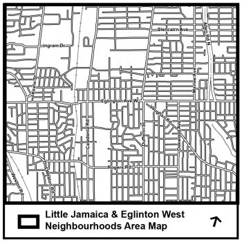 The study area graphic depicts a geographic area from which a more specific boundary will be determined through community input. This graphic shows an area that generally consists of the Allen Expressway to the east, Keele Street to the west, Castlefield Avenue to the north and Rogers Road to the south.