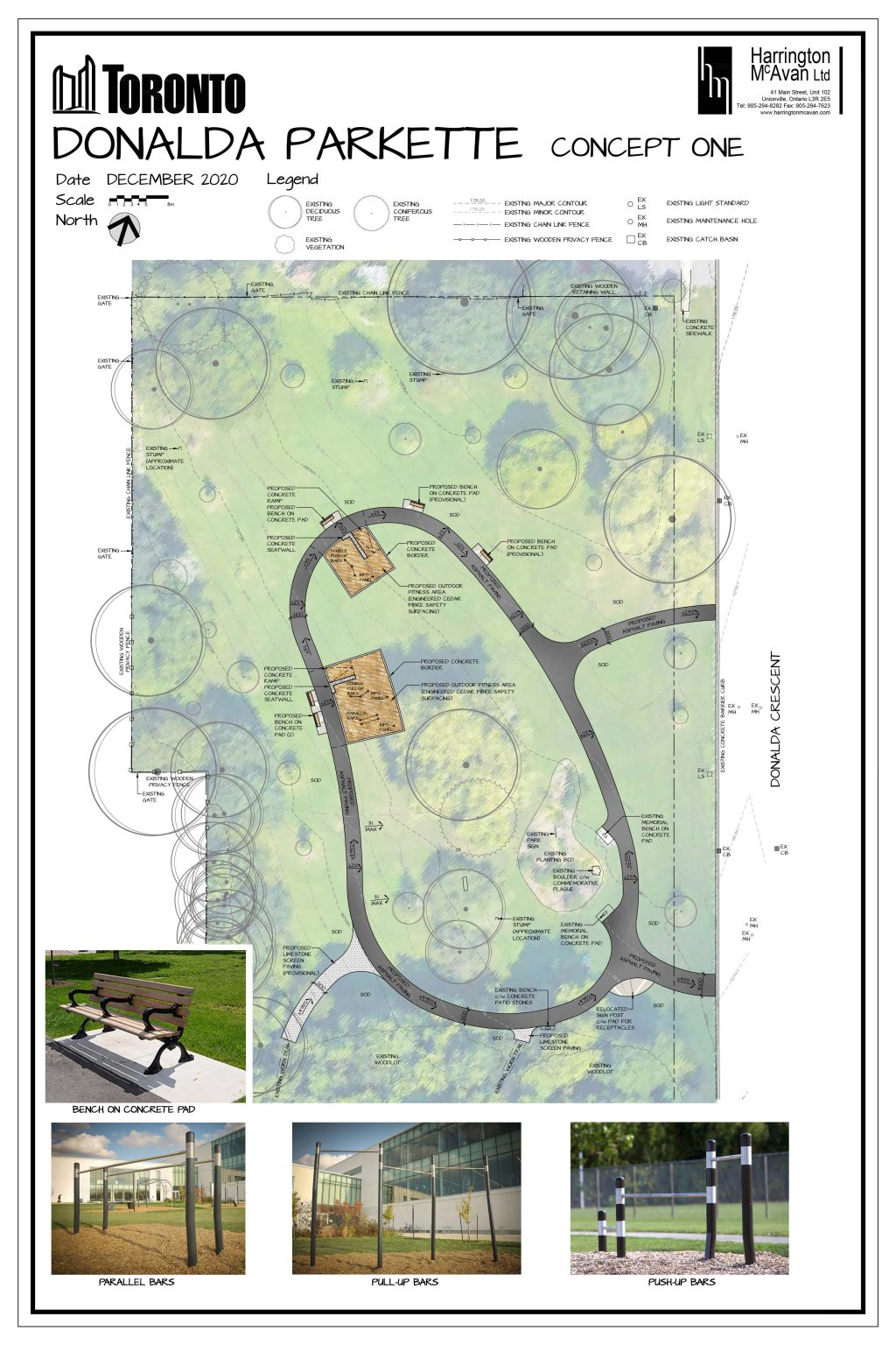 An image of the design plan for the option 1 fitness circuit for Donalda Park. This option feature an asphalt trail loop in the open lawn area of the park, and additional seating. The asphalt multi-use trail is an organic shape in the open lawn area of the park. The plan also includes two separate outdoor fitness stations with Engineered Wood Fibre surface and a bench on a concrete pad. The image also illustrates the existing plantings and trees in the park and surrounding wooded area. The image includes renderings of the proposed fitness equipment, which includes parallel bars, pull-up bars and push up bar.