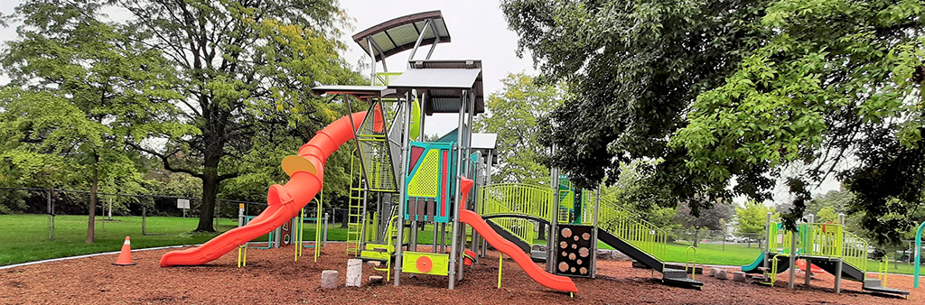 The playground equipment at Charlton Park, including slides and climbing equipment.