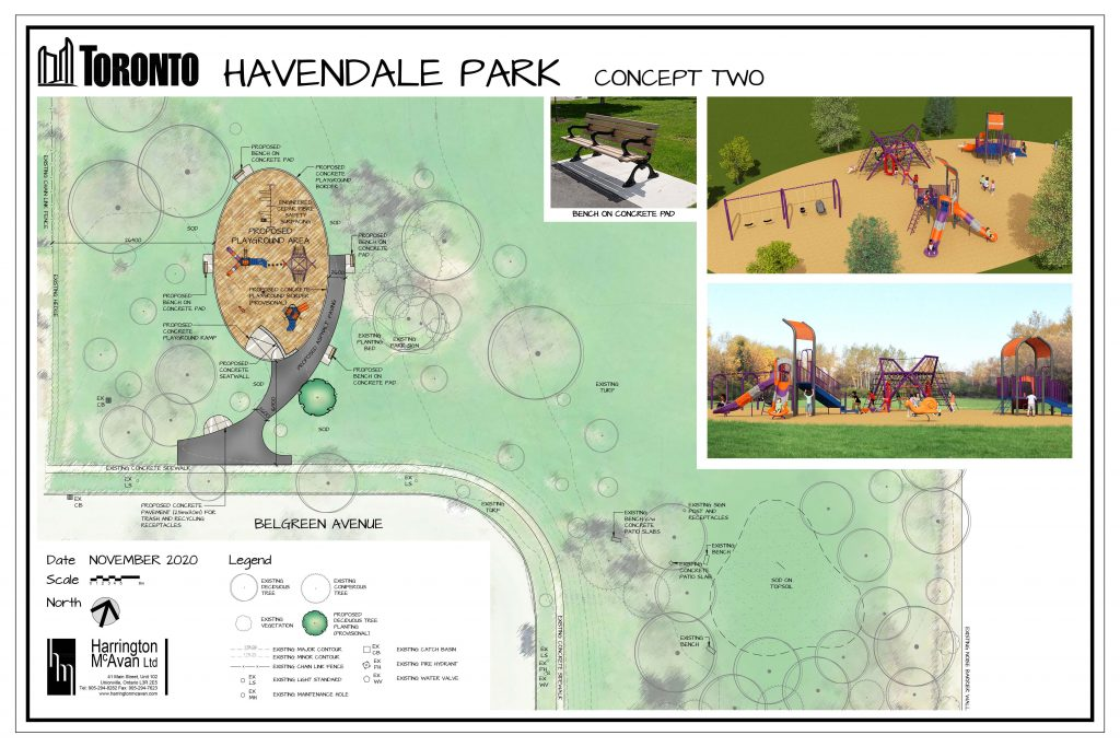 A site plan for the option 2 improvements to Havendale Park. The image provides an overview of the scope of work, including the relocation of the existing playground closer to Belgreen Avenue, an asphalt connection from the sidewalk, and bench seating. The proposed playground area has an oval footprint of safety surfacing and includes a concrete playground ramp and seat wall. Open green space surrounds the playground.