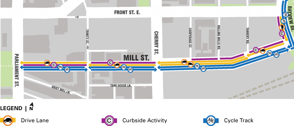 Map of proposed changes on Mill Street.