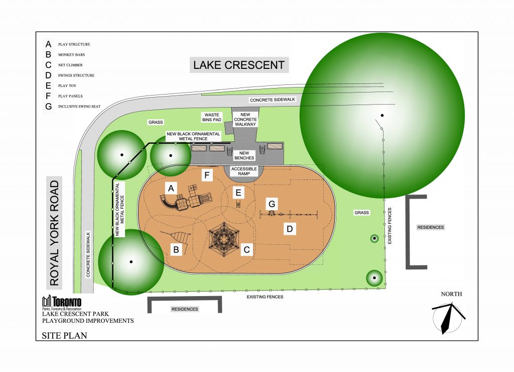 Site Plan of the proposed Lake Crescent Park, illustrating trees, play equipment and the play area, and overall site context. The plan shows surrounding existing information such as fences, sidewalks, residences, and streets. The Site Plan is situated at Lake Crescent Park, at the corner of Lake Crescent and Royal York road.