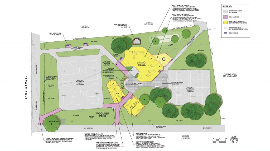 The final concept plan for the Woolner Park improvements which outlines the existing amenities in the park and identifies the areas within the park that will be upgraded. The existing pavement within the park i.e. pathways and basketball courts are show in grey with new pathways and pavement shown in purple. The new swing set, new fitness area and the upgrade playground area are shown in yellow and will include engineered wood fibre safety surfacing.