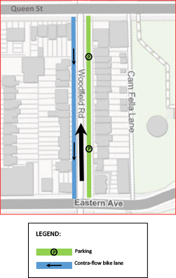 Map of Alternative 3 (switch to one-way northbound) on Woodfield Road, from Queen Street East to Eastern Avenue.