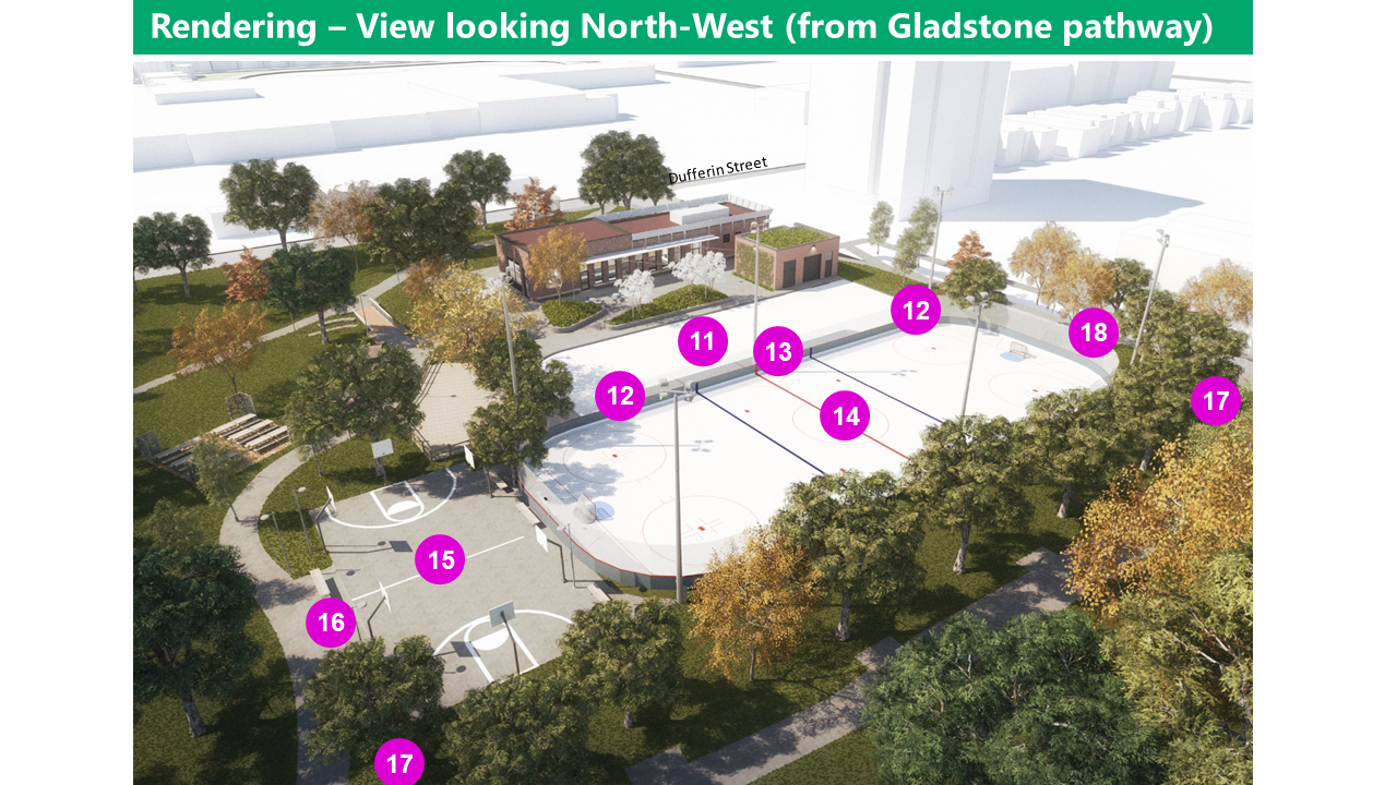 AERIAL IMAGE/RENDERING OF IMPROVEMENTS: on the north-east of the site, the path from Dufferin street is an uupdated staircase and diagonal accessible pathway from the corner of Dufferin St. & Dufferin Park Ave. The Clubhouse maintains its current footprint. Improvements occur inside the building (see images that follow), and increased window area and canopies. A Zamboni Garage with green roof is locate east of the north end of the clubhouse. East of the clubhouse is a Plaza space on permeable paving (which means rainwater can flow through the pavers). The area will include built-in seat walls, planters, lighting, and electrical outlets. The side of the Clubhouse that looks onto the plaza will have enlarged windows and a canopy. South of the clubhouse, connecting pathways is a Steel elevated boardwalk and regrading the slope along pathways to improve accessibility. There is a bottle filling station south of the plaza space, along with a Relocated wooden shed and small bake oven, with the existing large pizza oven remaining in place. The existing picnic area remains (protected through construction). The existing community gardens to remain and expand (protected through construction), with one garden shed relocated to north of the community garden. East of the plaza, with a north-south orientation are a Pleasure skating pad with new lighting (Used for skateboarding and other purposes when not in use for ice skating) and a hockey rink with boards and sports lighting (also Used for skateboarding, bike polo, and other purposes when not in use for ice skating) . Between the rinks are gates on the north and south end for a Zamboni which can be opened for social skate times. There are team benches and penalty boxes between the rinks as well. South of the Hockey Rink is a new Basketball court with 6 nets (2 at youth height) and lighting. This becomes the snow melt/storage area in winter. There will be new seating on the north, east, and south sides of the basketball court, an