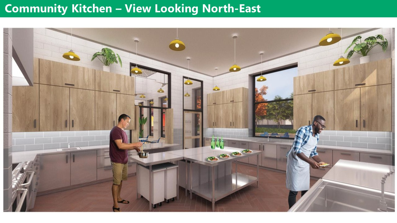 Artist rendering of the new clubhouse kitchen view looking North-East A large island in the middle of the kitchen with a large window over a sink looking over the park, and an internal window and glass door connecting to the multi-purpose room. The remaining walls have top and bottom storage cupboards with plenty of counter space. There is a double oven and double sets of burners. There are yellow drop lights hanging from the ceiling and the floor is brown. The walls are grey and the cabinets are a light wood.