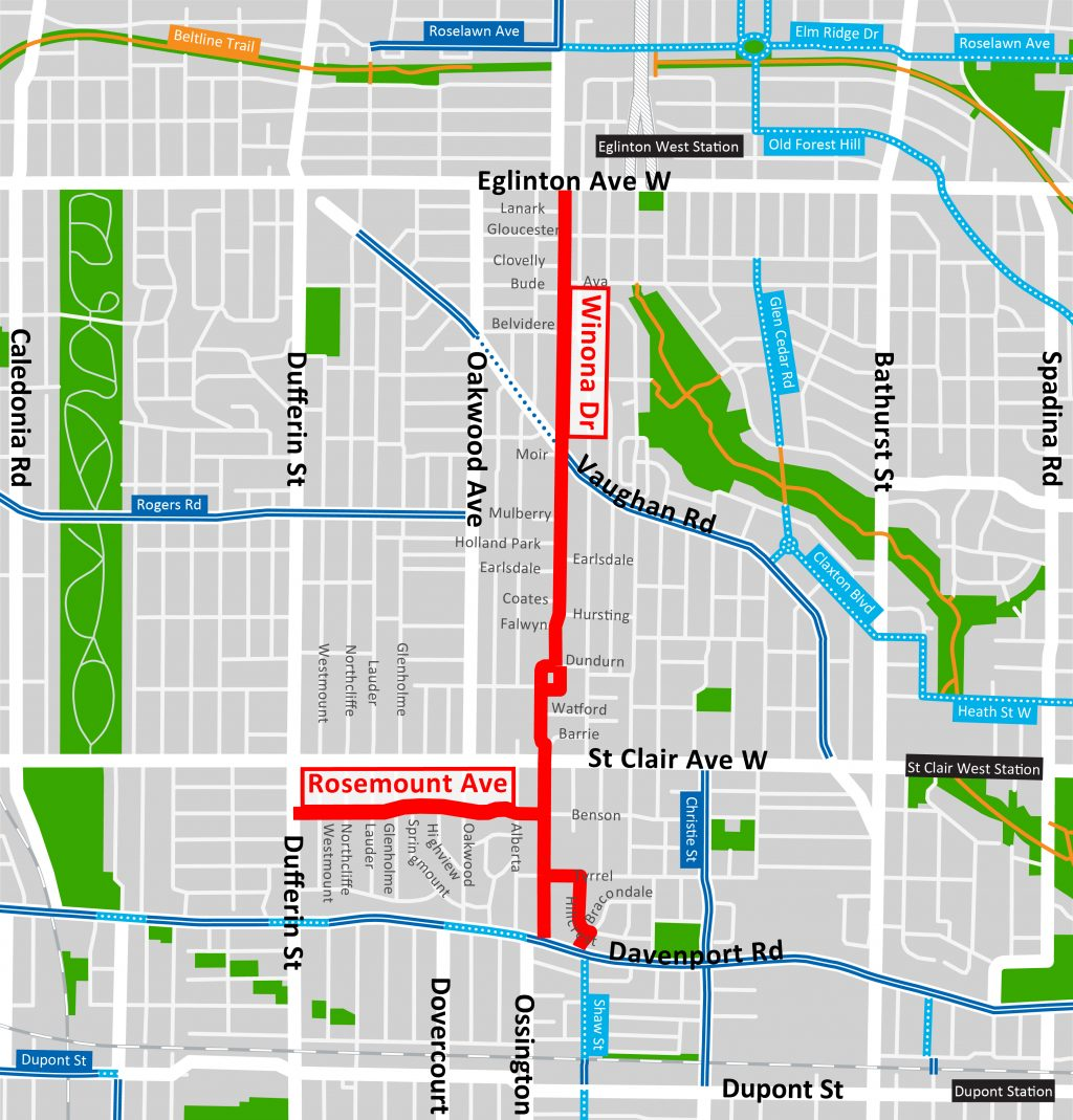 Map of the proposed Oakwood Cycling Connections, including Winona Drive.