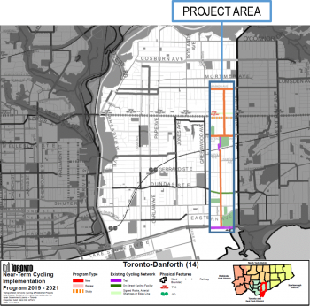 Map of Woodfield Road-Monarch Park Avenue project area.