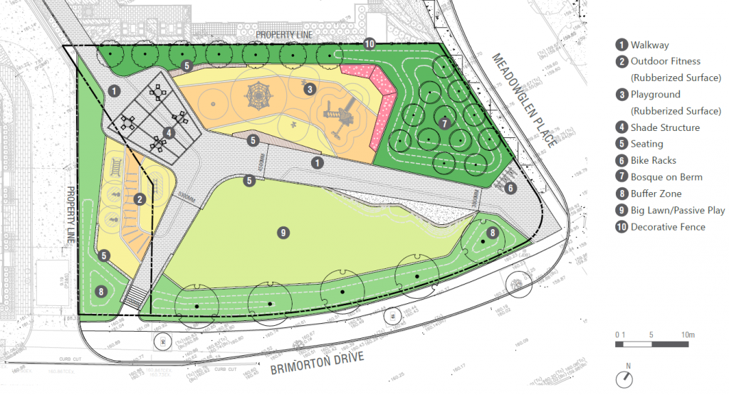 The concept plan for the new park presented at the public meeting on March 19, 2021 includes a large open lawn space near Brimorton Drive with seating opportunities, two pathways through the park connecting to Brimorton Drive and the corner of Brimorton Drive and Meadowglen Place. Additional features include outdoor fitness equipment, a playground, shade structure and bike racks.
