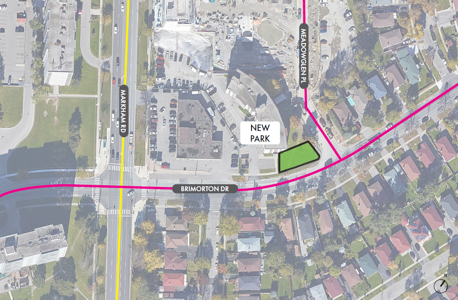 An aerial overview showing the location of the new park. The park is indicated by a green box located at the south-east corner Brimorton Drive and Meadowglen Place. The major road that is parallel to the park is Markham Road.