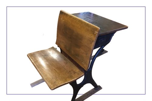 one-piece school desk was the typical style found in school rooms across Toronto during the 19th and early 20th centuries
