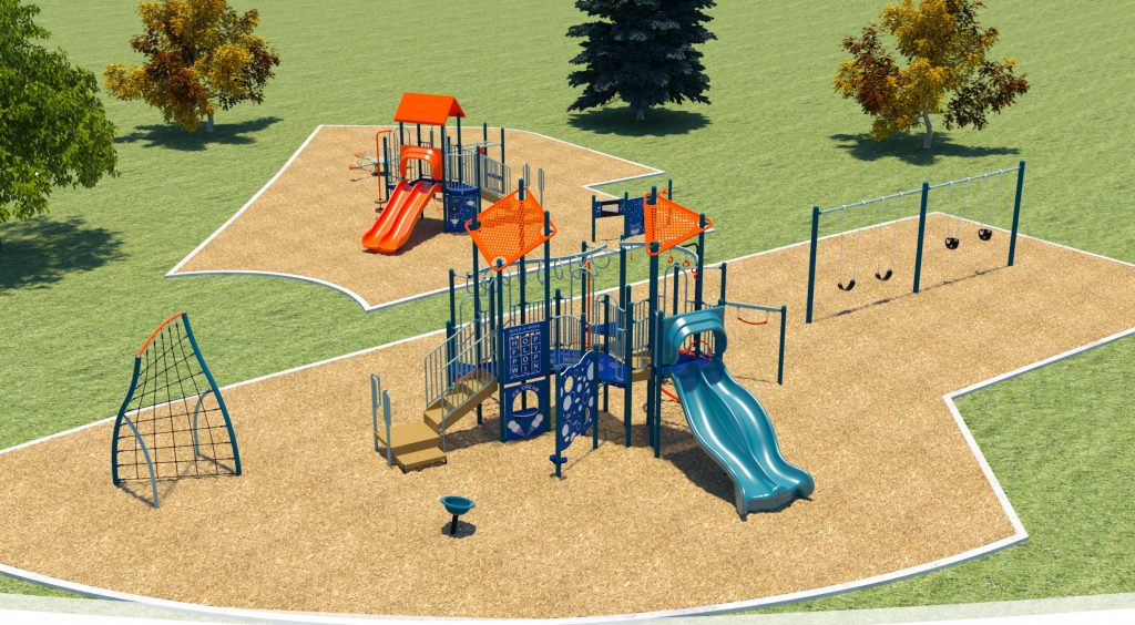 A rendering of the final playground deign for Bob Lopston Park includes a junior play structure with two slides, monkey bars, and climbing feature, a senior play structure with two slides, monkey bars, rope climber, and a climbing feature. Other features include a seated spinner, a seated seesaw, sensory play panels, music panels, swing set complete with 5 swing seats (2 swings for toddlers/young children ages 2 to 5, 2 swings for children ages 5 to 12 and 1 inclusive swing).