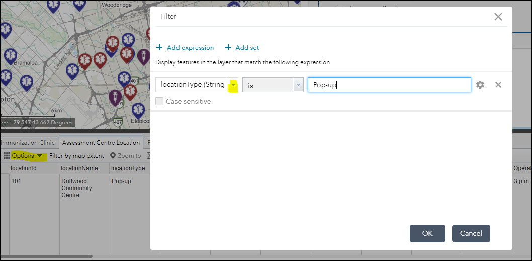 """Filter popup shown with """"locationType is Pop-up"""" selected in the drop down menus."""