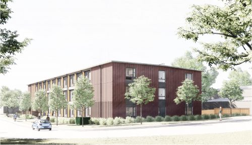 Preliminary artist's rendering of the modular building – Looking south on Trenton Avenue. Final design subject to approval.
