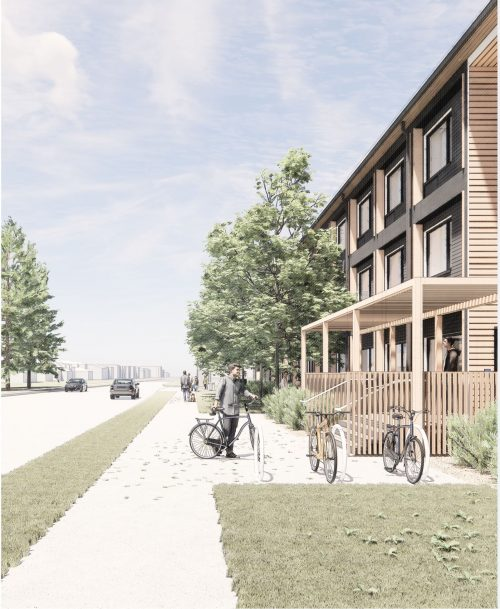 Preliminary artist's rendering of the modular building – Front entrance looking east. Final design subject to approval.