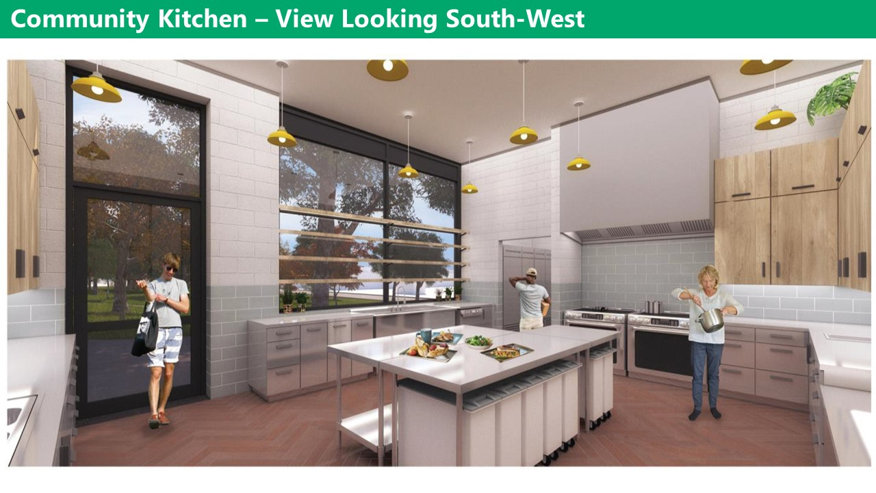 Artist rendering of the new clubhouse kitchen, view looking south-west. A large island in the middle of the kitchen with large windows and a glass door looking onto the park. The remaining walls have top and bottom storage cupboards with plenty of counter space. There is a double oven and double sets of burners. There are yellow drop lights hanging from the ceiling and the floor is brown. The walls are grey and the cabinets are a light wood.