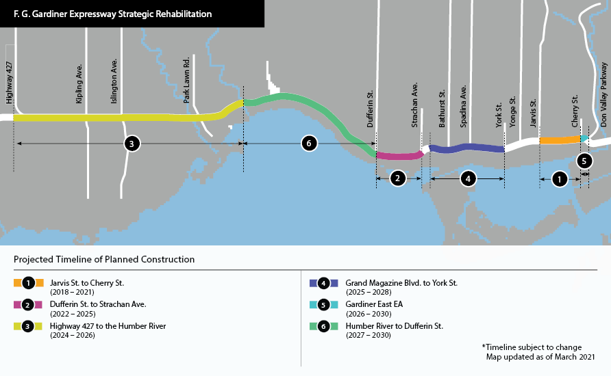 Image showing map and timeline of the Gardiner Expressway Rehabilitation