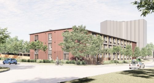 Preliminary artist's rendering of the modular building – Looking northwest on Cedarvale Avenue. Final design subject to approval