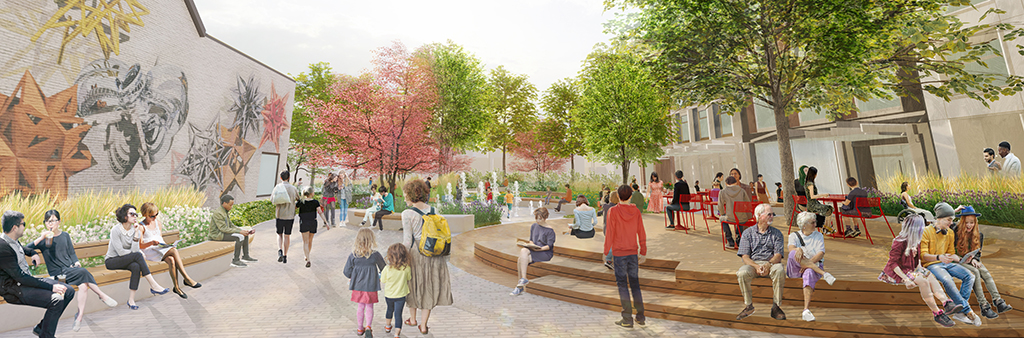 Eye-level perspective rendering of the new park at Mirvish Village, featuring a view looking towards Markham Street Forecourt.