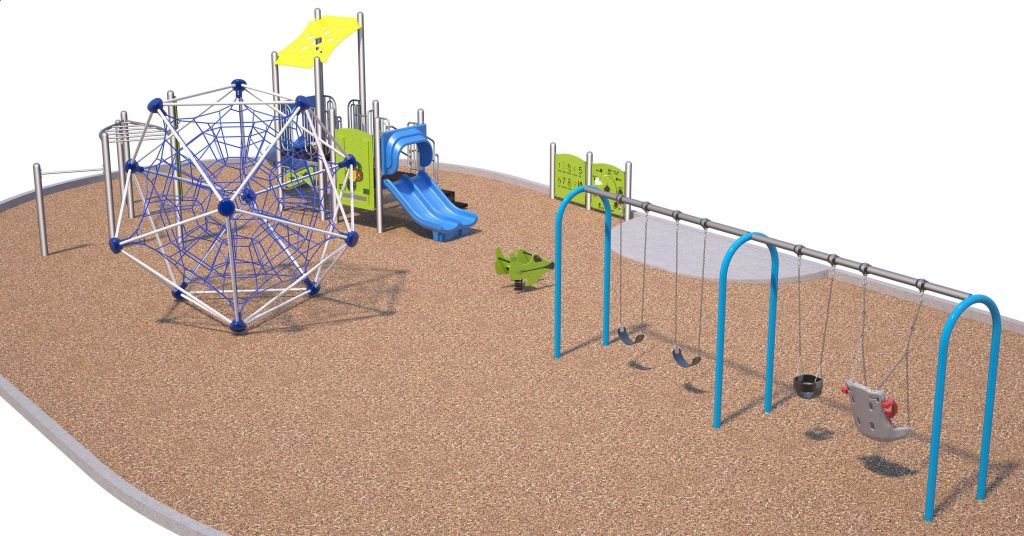Dimensional Axonometric View (upper left corner of panel). 3 dimensional view, from adult eye level, of the proposed play equipment including Play Structure, Monkey Bars, Net Climber, Swings Structure, Play Toy Play Panels, Inclusive Swing Seat.
