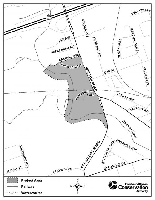 Project area is bounded by Weston Road to the east, Cardell Avenue to the north, west side of the Humber River for to the west and St.Phillips Road just south of Humber River for the southern point. A railway runs east west through the middle of the area which is situated south of the 401.