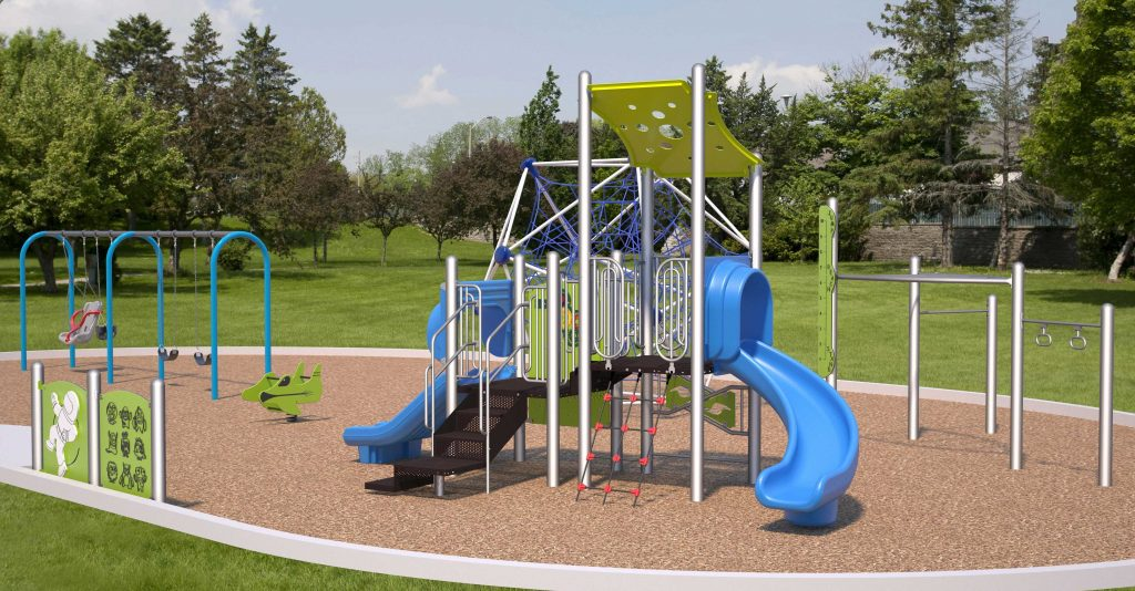 A 3-dimensional view, at a high elevation, of the proposed play equipment including Play Structure, Monkey Bars, Net Climber, Swings Structure, Play Toy, Play Panels, Inclusive Swing Seat