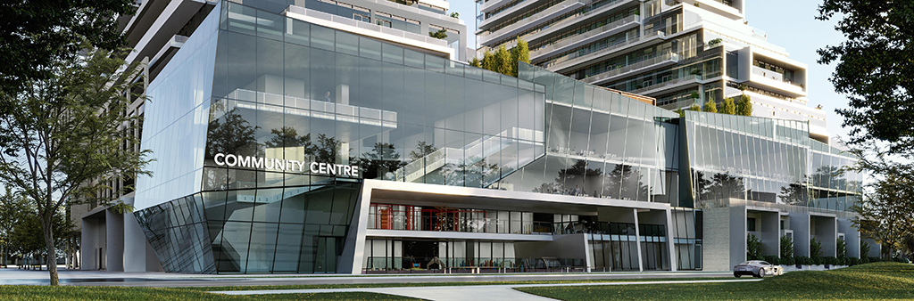 A rendering of the new Newtonbrook Community Recreation Centre. The community centre will be a two-storey facility located within the base of the Newtonbrook Plaza Redevelopment at Yonge Street and Cummer Avenue. The exterior of the development site include simple modern design features like floor to ceiling windows and sculptural elements.