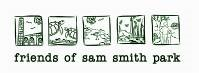 Friends of Sam Smith Park logo, with five hand drawn boxes, each containing facet of biodiversity in the park.