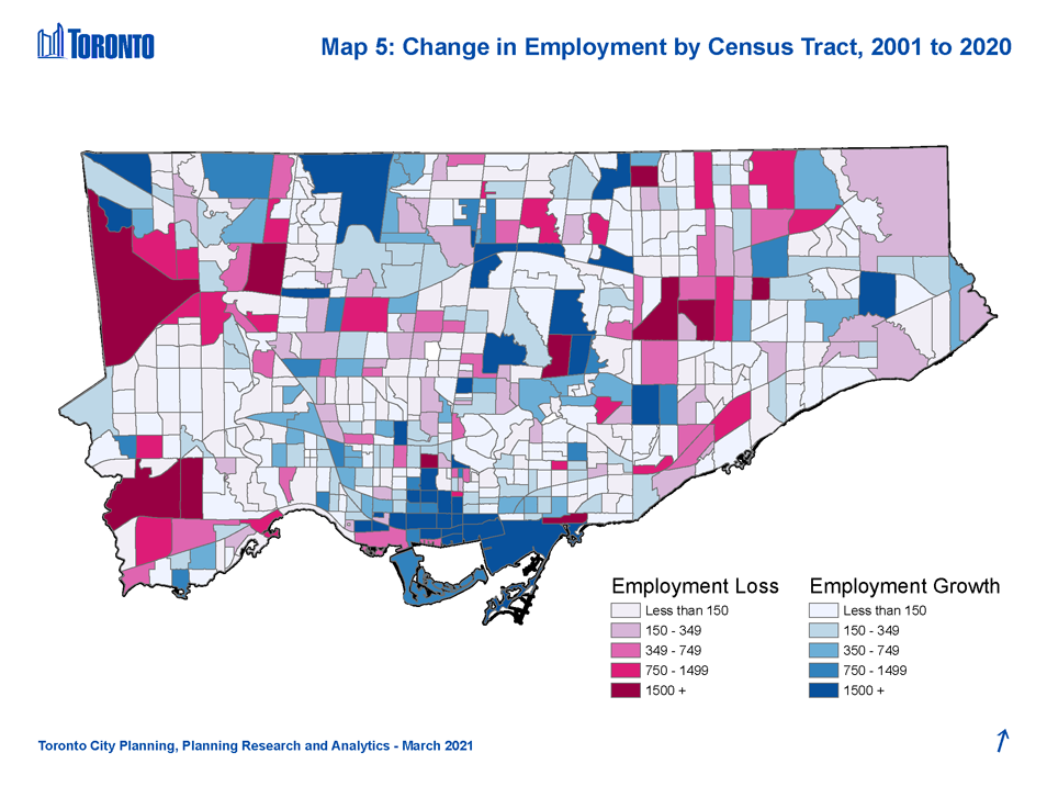 Map illustrating how employment in many of Toronto's inner suburbs has remained flat or declined between 2001 and 2020