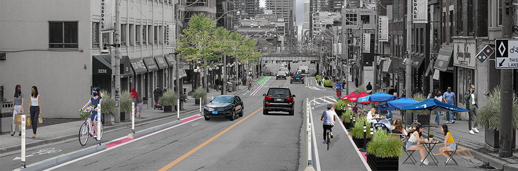 Artistic rendering of the complete street pilot project for Yonge Street between Bloor St. and Davisville Ave. There are two lanes of vehicle traffic, protected bike lanes, curb lane cafes and people walking on the sidewalk.
