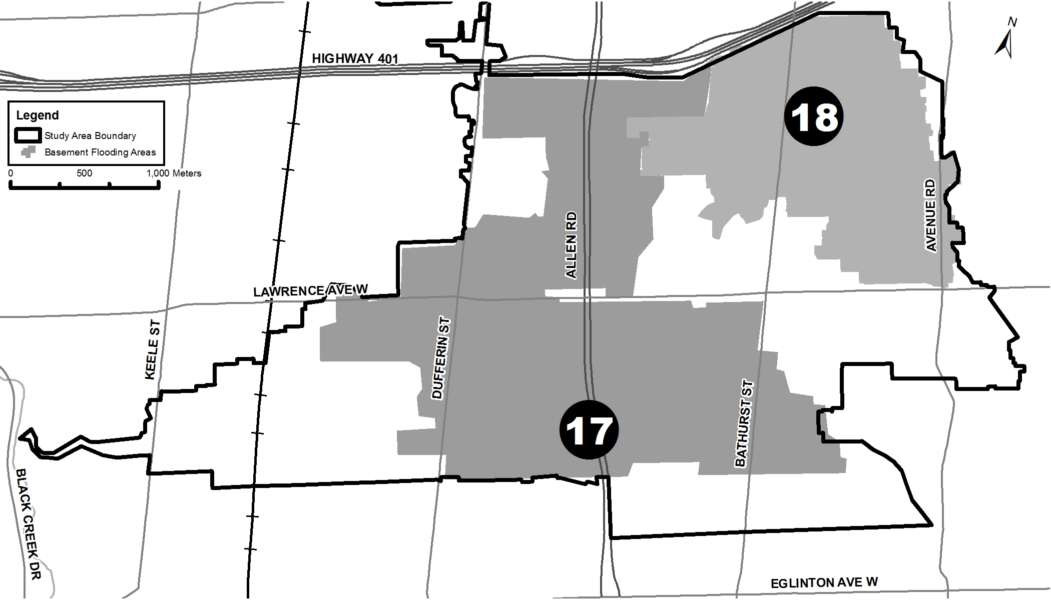 BF Study Area 17 - 18 - roughly Dufferin to Bathurst St from Hwy 401 to Roselawn Ave
