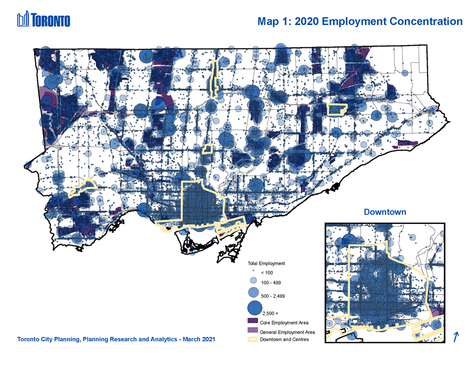 Map 1: Employment Concentrations, City of Toronto. This map shows locations of all establishments in the city, with graduated symbols for establishments (1) having less than 100 employees, (2) having between 100 and 499 employees (3) having between 500 and 2,499 employees and (4) having over 2,500 employees