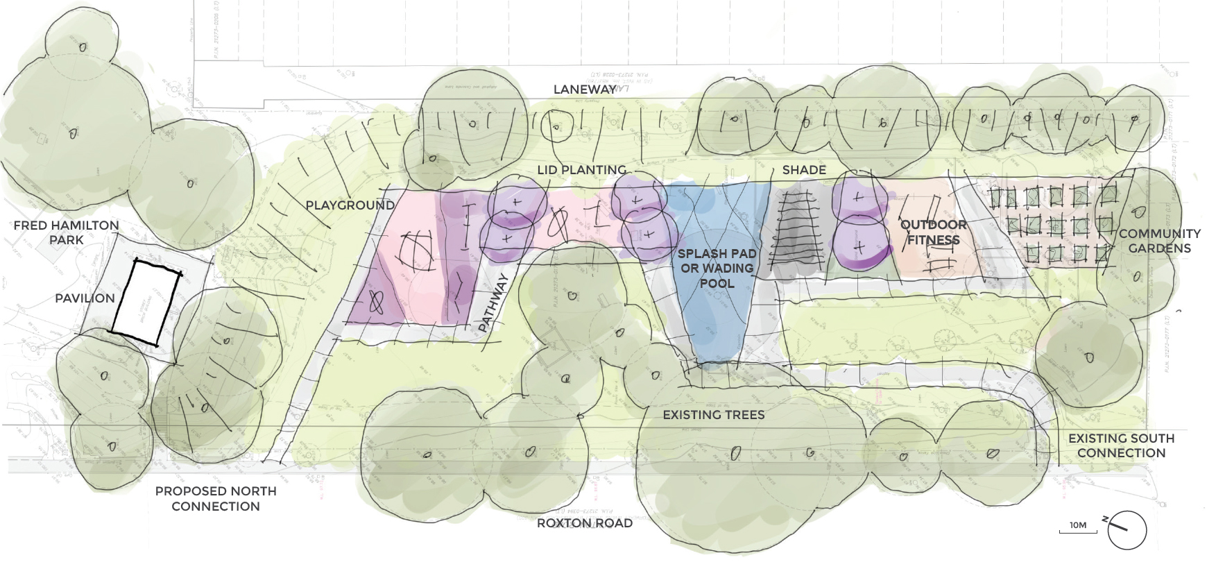 A sketch-style concept plan for the playground and wading pool enhancements. The layout has all the park amenities along the east edge of the park with open lawn space on the other side along Roxton road. The playground is shown in pink, the splash pad is shown in blue, the outdoor fitness area is shown in light brown and the new plantings are shown in purple focused at the east end of the park between the park features.