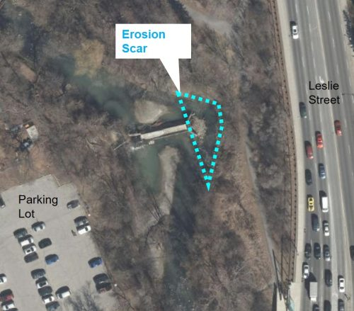 Aerial photo showing location of erosion scar around the existing weir in East Don River